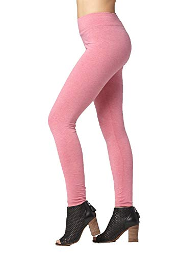 - Premium Ultra Soft Cotton Stretch Leggings - Full-Length Heather Red - Large - WP4000-Heather Red-L