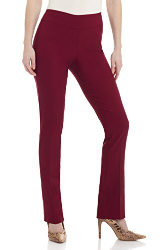 Rekucci Women's Ease in to Comfort Straight Leg Pant with Tummy Control (10,Burgundy)