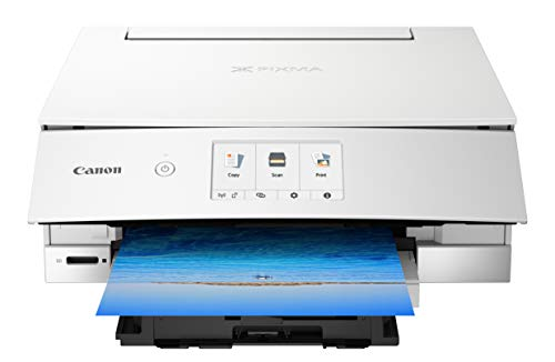 Canon TS8220 Wireless All In One Photo Printer With Scannier And Copier, Mobile Printing, White, Amazon Dash Replenishment Ready