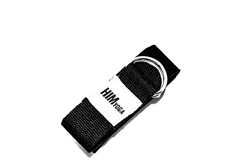 HimYoga - Yoga Strap for Men 6 feet with metal D-ring (Black)
