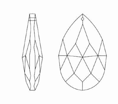 Kristall Salzburger Mandel 38mm Saphier ~ Blau K9 ~ Feng Shui Suncatcher