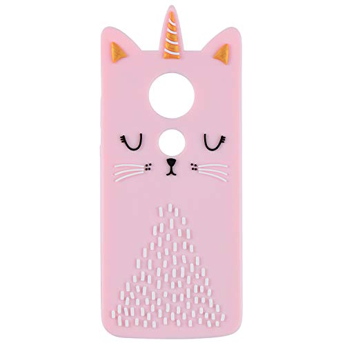 Cat Unicorn Case for Motorola Moto E5 Play/Moto E5 Cruise Silicone 3D Cartoon Animal Pink Cover,Kids Girls Cool Lovely Cute Cases,Kawaii Soft Gel Rubber Unique Character Fun Protector for Moto E5 Play