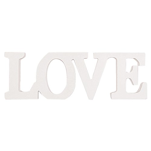SODIAL(R) Wooden Letter LOVE Table Top Freestanding Sign Centerpiece (white)