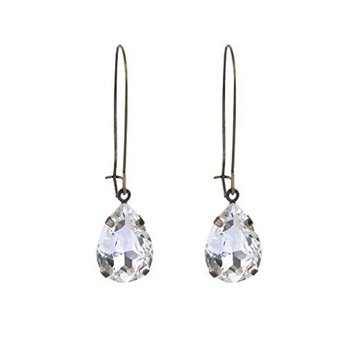 EVER FAITH Austrian Crystal Vintage Style Teardrop Hook Dangle Earrings Clear Antique Gold-Tone