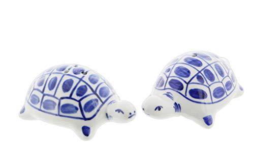 Blue & White Porcelain Salt & Pepper Shaker Set (Turtles) ()