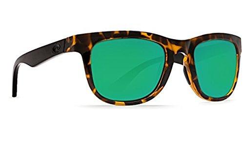 Costa Copra Sunglasses Shiny Retro Tort with Black Temples Green Mirror