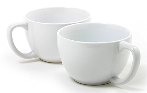 Norpro My Favorite Jumbo Mugs, Set of 2 (Jumbo White Coffee Cups)