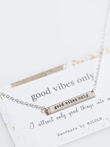 Good Vibes Only Necklace in Sterling Silver Positive Words Jewelry