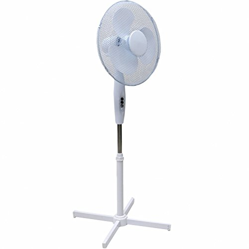 -[ Squizzas! H-28401 Electrical 16-Inch Oscillating Pedestal Stand Fan, White  ]-