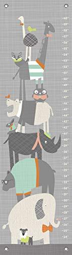 Daisy Baby Growth Charts Oopsy - Oopsy Daisy Happy Animal Herd Growth Chart, Gray/Aqua/Green/Orange, 12