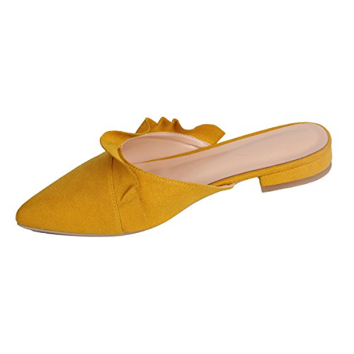 Mules On Women's Yellow Trimmed Loafer For Women Sandals Slippers Backless Slides Slip Maguidern Flats Ruffle wYxIT5Sqx4