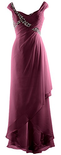 of V Gown Mother Dress Chiffon High Elegant Neck Maxi Low Weinrot MACloth Formal Bride T5Yqn