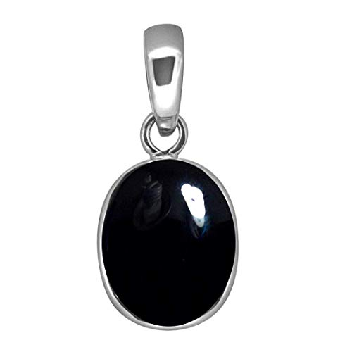 - 55Carat Brand Genuine Black Onyx Pendants for Jewelry Making 4 Carat Oval Stone Sterling Silver Locket