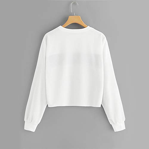 - On Sale Pullover Sweatshirt, THENLIAN Women Long-Sleeve Blouse O-Neck Crop Tops Patchwork Shirt(S, White)