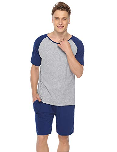 (Aiboria Mens Cotton Pajama Set Short Sleeve Raglan Sleepwear Summer Lounge Pj Set Navy)