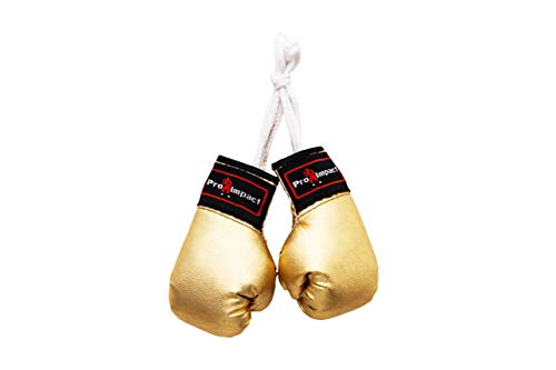 Pro Impact Mini Boxing Gloves - Miniature Punching Gloves - Holiday Christmas Ornament - Hanging Decoration or Souvenir Display - for Home & Car Use - 1 Pair Gold