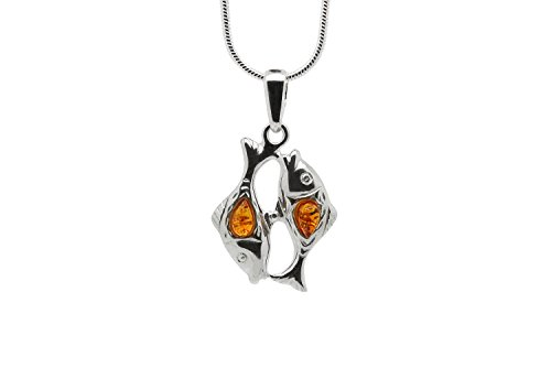 925 Sterling Silver Pisces Zodiac Sign Pendant Necklace with Genuine Baltic Amber. Chain Included