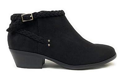 SODA GEN Womens Stacked Block Heel Ankle Braided Stud Buckle Booties