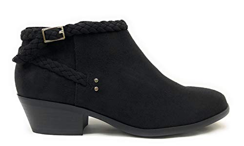 SODA JDGenova Braided Stacked Block Heel Ankle Booties (9 B(M) US, Black JD)