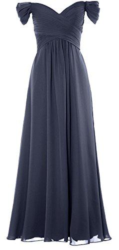 MACloth Women Off the Shoulder Long Prom Dress Chiffon Wedding Party Formal Gown (20w, Steel Blue) (Fancy Dress Size 20)