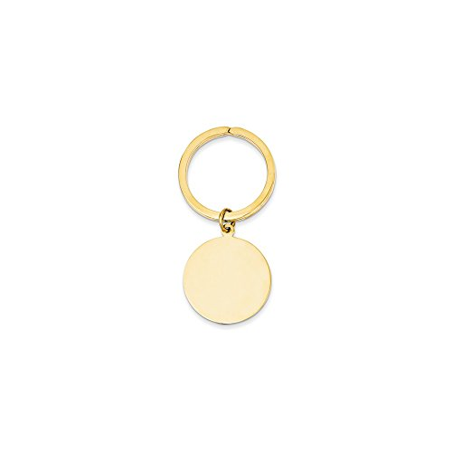 14k Round High Polished Disc Key Ring by Saris and Things