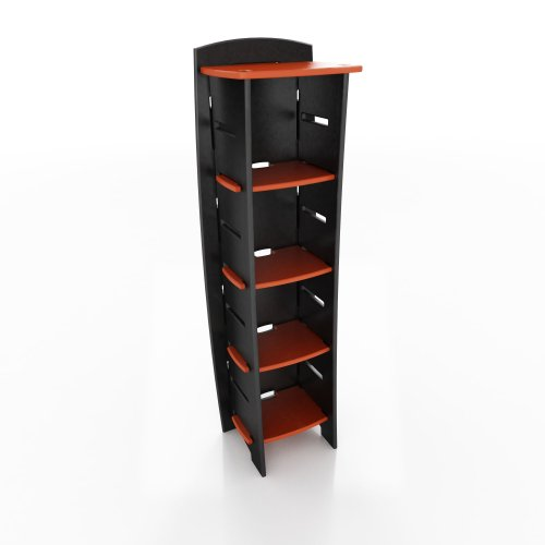 Legare 59-Inch-by-18-Inch Bookcase, Red and Black