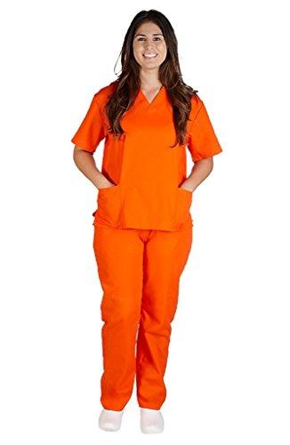 (M&M SCRUBS Women Scrub Set Medical Scrub Top and Pants S Orange)