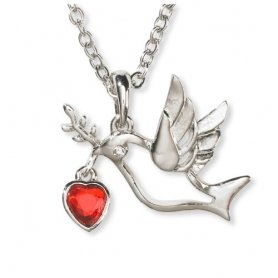 Glass Dove Necklace - 18
