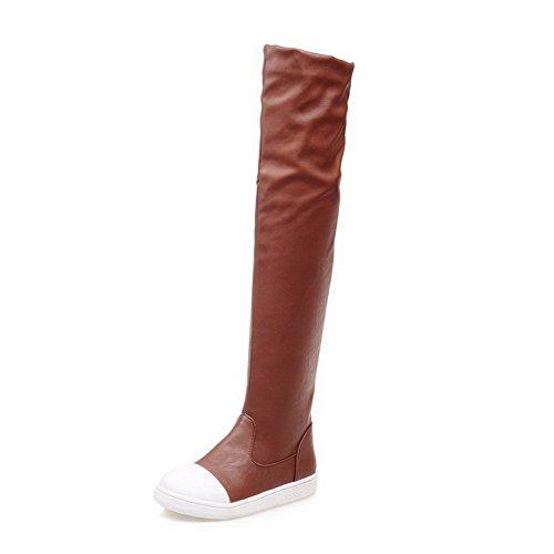 AllhqFashion Damen Ziehen auf Gemischte Farbe Niedriger Absatz Hoch-Spitze Stiefel Braun
