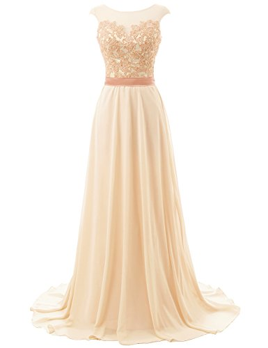 JAEDEN Long Prom Dresses Lace Open Back Chiffon Bridesmaid Dress Cap Sleeve Evening Party Gown Champagne US8 (Back Chiffon)