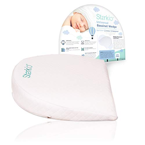 Starkio Bassinet Wedge Pillow. Gentle 12 Degree Incline for a Better Night's Sleep. Reduces New Born Baby Colic, Reflux & Congestion. Fully Waterproof Layer with Handcrafted Removable Cotton Cover