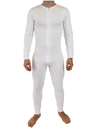 NDS Wear Mens Stretch Thermal Cotton Union Suit White XL