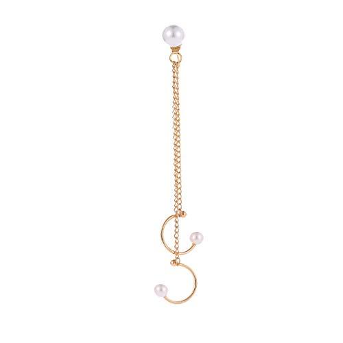 - Earrings for Women Imitation Pearl Chain Tassel Dangle Wrap Hoop Jewelry Earring Jacket (silver)