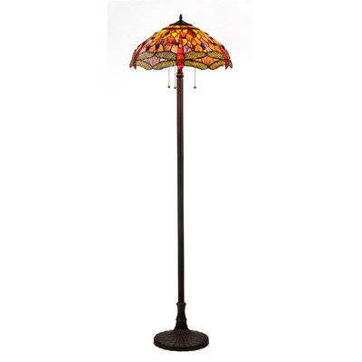 CHLOE Lighting CH2825DB18-FL3 Tiffany-style Dragonfly 3-Light Floor Lamp with 18-Inch Shade