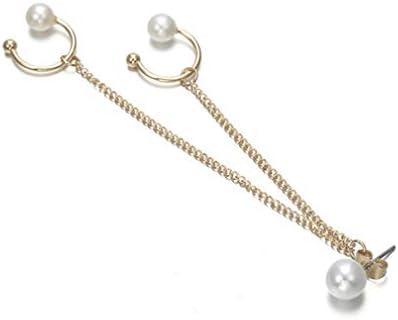 [해외]TIMETRIES パンクスタイルチェ?ンタッセルダングルフェイクパ?ル 귀 カフイヤリング / TIMETRIES Punk Style Chain Tassel Dangle Faux Pearl Ear Cuff Earrings