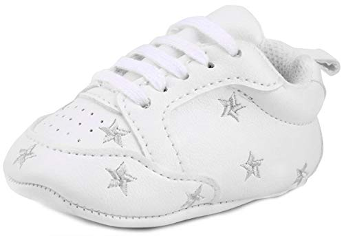 LONSOEN Baby Sneakers for Girls Boys Moccasins Infant Soft Sole First Walking Crib Shoes,BAY202 Silver Star 12-18 Months -