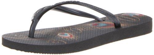 Havaianas Women's Slim Peacock Flip Flop Sandal,Black, 41/42 BR(11-12 M US Women's / 9-10 M US Men's)