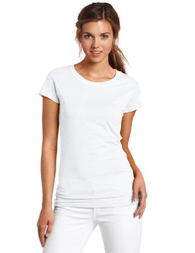 Short Sleeve Crew Neck Tee,White,Medium (Solid Womens Cap Sleeve T-shirt)
