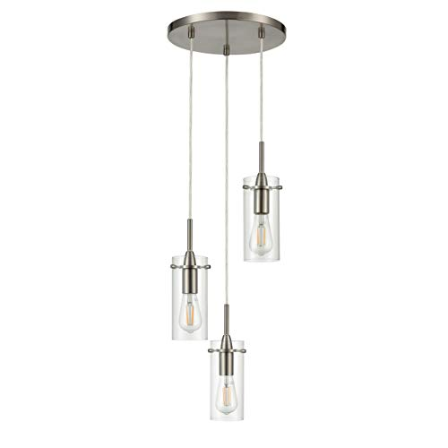 Effimero Multi Pendant Lighting for Kitchen Island | Brushed Nickel Chandelier Cluster Pendant 3 Light Fixture LL-C43-1BN