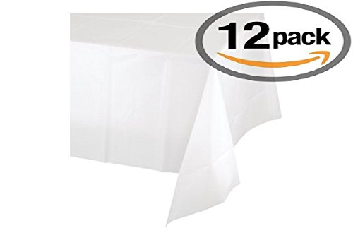 "12-Pack Disposable Plastic Tablecloths 54"" x 108"" Rectangle Table Cover (WHITE)"