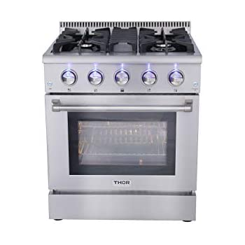 """Thor Kitchen HRG3080U 30"""" Freestanding Professional Style Gas Range with 4.2 cu. ft. Oven, 4 Burners, Convection Fan, Cast Iron Grates, and Blue Porcelain Oven Interior, in Stainless Steel"""