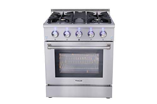 Thor Kitchen HRG3080U 30″ Freestanding Professional Style Gas Range with 4.2 cu. ft. Oven, 4 Burners, Convection Fan, Cast Iron Grates, and Blue Porcelain Oven Interior, in Stainless Steel