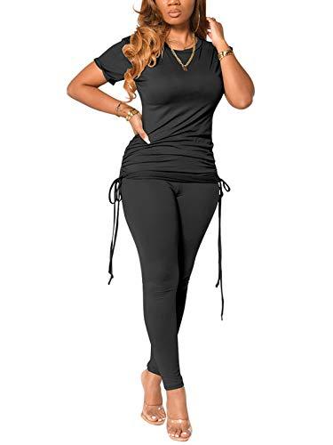 Women's Sexy 2 Piece Outfits Short Sleeve Crop Top High Waist Wide Leg Pants Sets Tracksuit Daily Wear