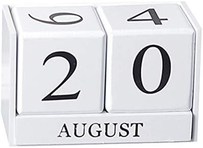 Macabolo Vintage Holz ewigen Kalender ewigen Blöcke Monat Datum Display Desktop Zubehör Fotografie Requisiten Home Office Dekoration
