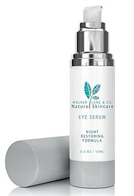 Walker Lane & Co. Organic Natural Eye Serum for Puffiness & Fine Lines - Creamy Night Restoring Anti Aging Formula - Paraben Free, Dye Free & Vegan (0.5 oz)