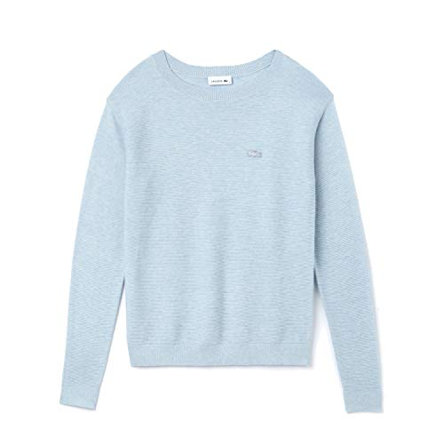 Lacoste Women's Long Sleeve Cotton Boatneck Sweater, Junk Blue Chine, 0