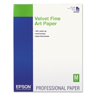 Epson® Velvet Fine Art Paper for Epson Pro Graphics Printers, White, 17 x 22, 25 Sheets