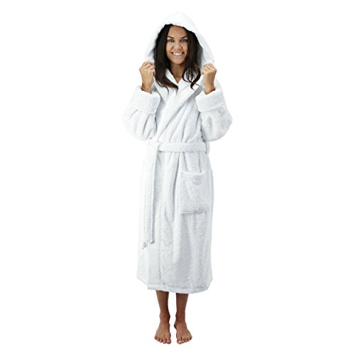 Comfy Robes Women's Deluxe 20 oz. Turkish Cotton Hooded Bathrobe, XS White by Comfy Robes