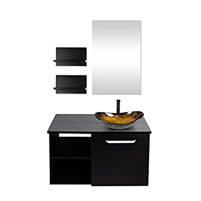28-Inch Bathroom Vanity Set, Wall Mounted Cabinet with Mirror, Sink and Faucet
