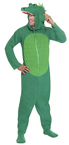 Smiffy's Men's Crocodile Costume All In One with Hood, Green, -